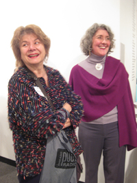At the Arc Gallery's March 4 exhibition launch, director Iris  Goldstein (left) and grant writer Cheri Reif Naselli say this month it's essential to display good art, despite gender.